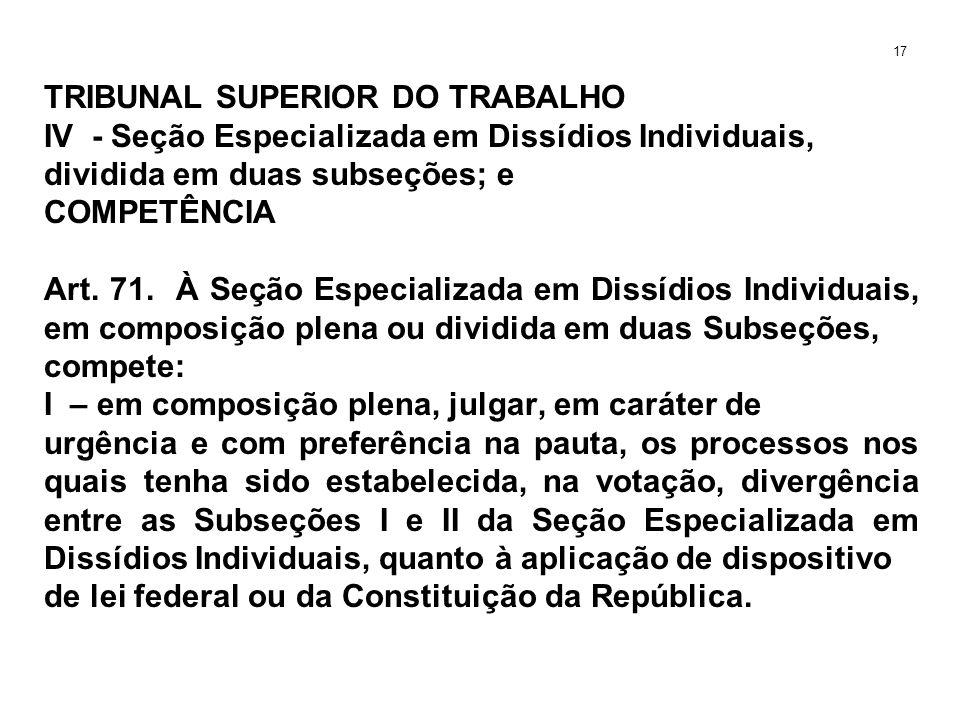 TRIBUNAL SUPERIOR DO TRABALHO IV - Seção Especializada em Dissídios Individuais, dividida em duas subseções; e COMPETÊNCIA Art. 71. À Seção Especializ