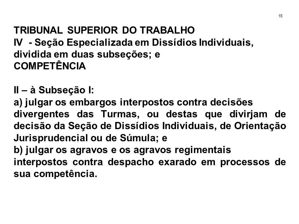TRIBUNAL SUPERIOR DO TRABALHO IV - Seção Especializada em Dissídios Individuais, dividida em duas subseções; e COMPETÊNCIA II – à Subseção I: a) julga