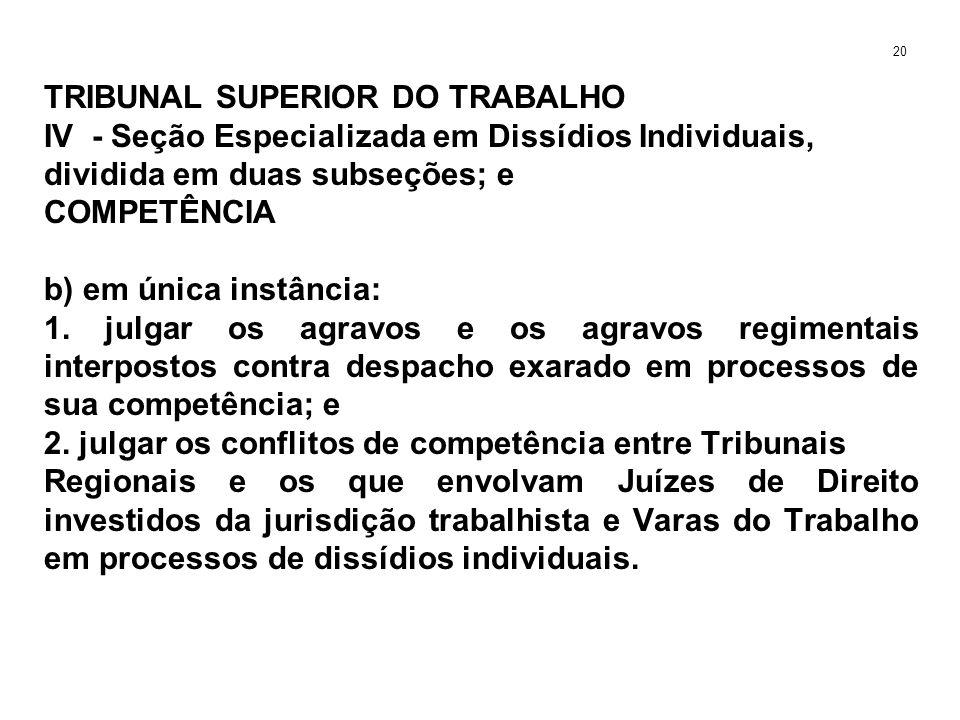 TRIBUNAL SUPERIOR DO TRABALHO IV - Seção Especializada em Dissídios Individuais, dividida em duas subseções; e COMPETÊNCIA b) em única instância: 1. j
