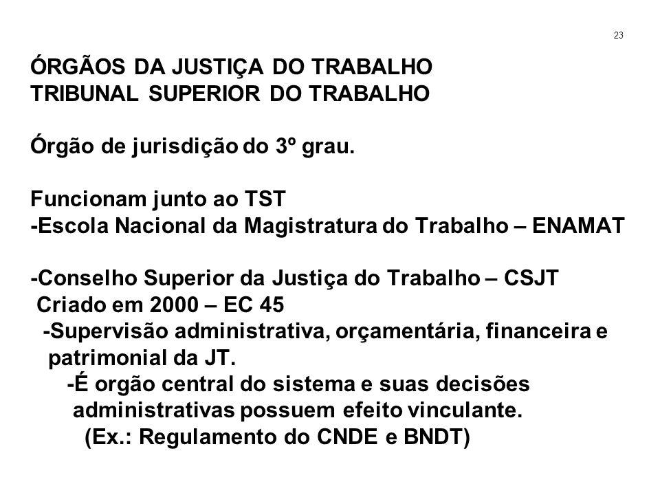 ÓRGÃOS DA JUSTIÇA DO TRABALHO TRIBUNAL SUPERIOR DO TRABALHO Órgão de jurisdição do 3º grau. Funcionam junto ao TST -Escola Nacional da Magistratura do