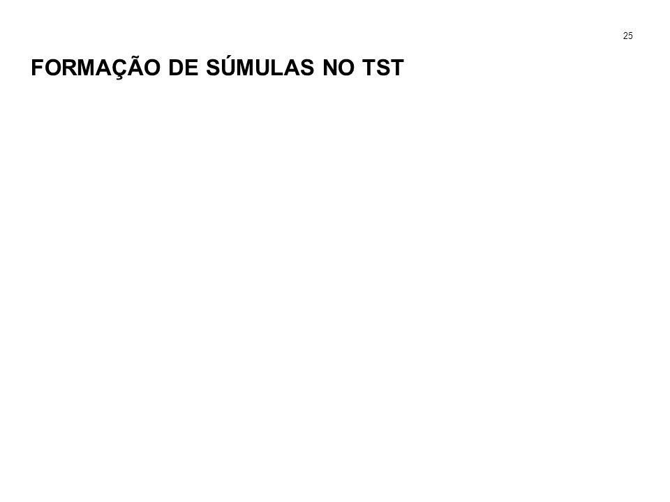 FORMAÇÃO DE SÚMULAS NO TST 25