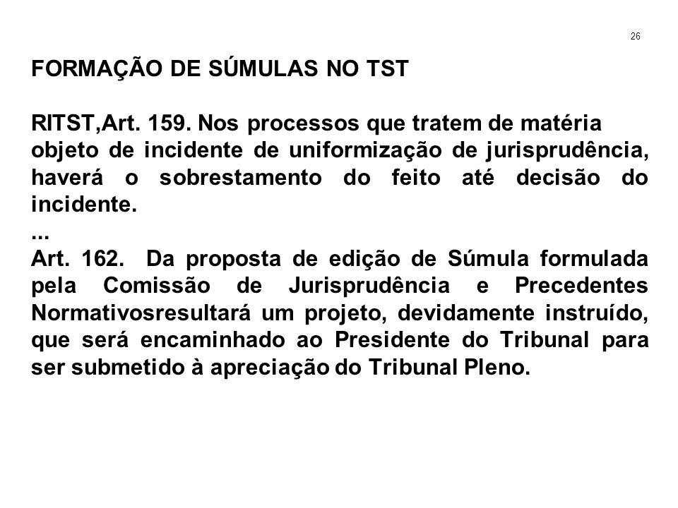 FORMAÇÃO DE SÚMULAS NO TST RITST,Art. 159. Nos processos que tratem de matéria objeto de incidente de uniformização de jurisprudência, haverá o sobres