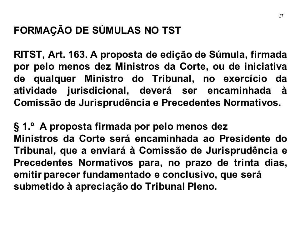 FORMAÇÃO DE SÚMULAS NO TST RITST, Art. 163. A proposta de edição de Súmula, firmada por pelo menos dez Ministros da Corte, ou de iniciativa de qualque