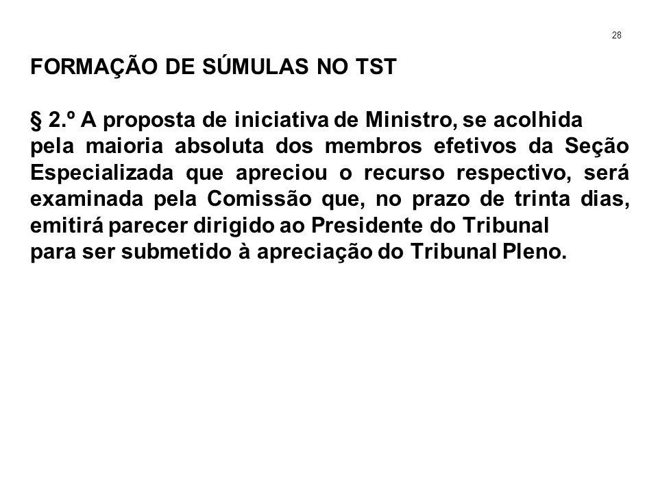 FORMAÇÃO DE SÚMULAS NO TST § 2.º A proposta de iniciativa de Ministro, se acolhida pela maioria absoluta dos membros efetivos da Seção Especializada q
