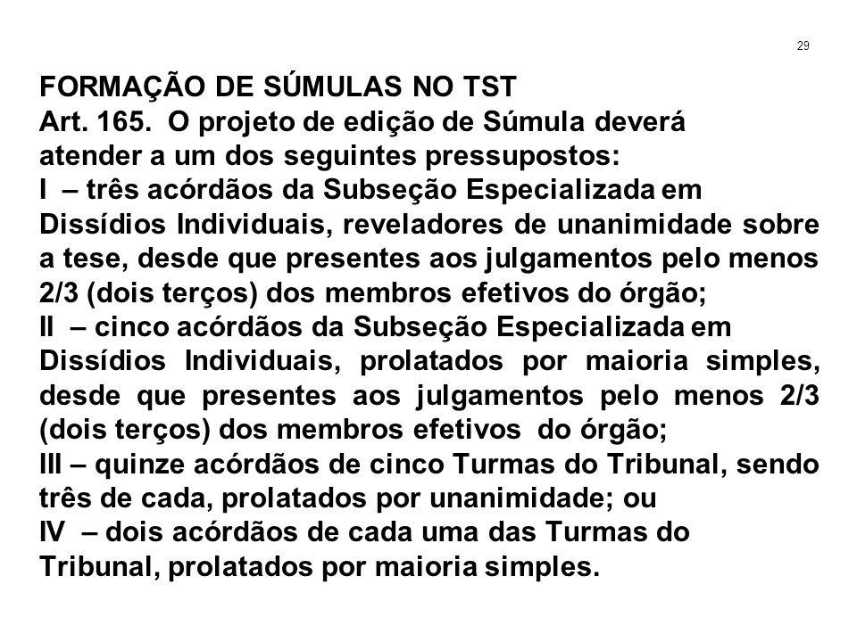 FORMAÇÃO DE SÚMULAS NO TST Art. 165. O projeto de edição de Súmula deverá atender a um dos seguintes pressupostos: I – três acórdãos da Subseção Espec