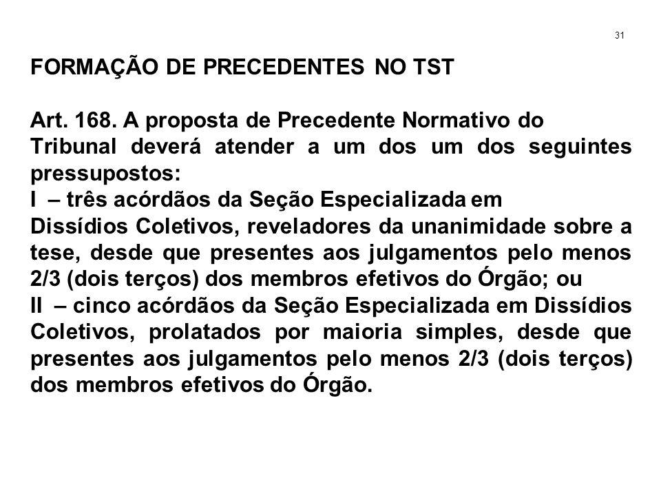 FORMAÇÃO DE PRECEDENTES NO TST Art. 168. A proposta de Precedente Normativo do Tribunal deverá atender a um dos um dos seguintes pressupostos: I – trê