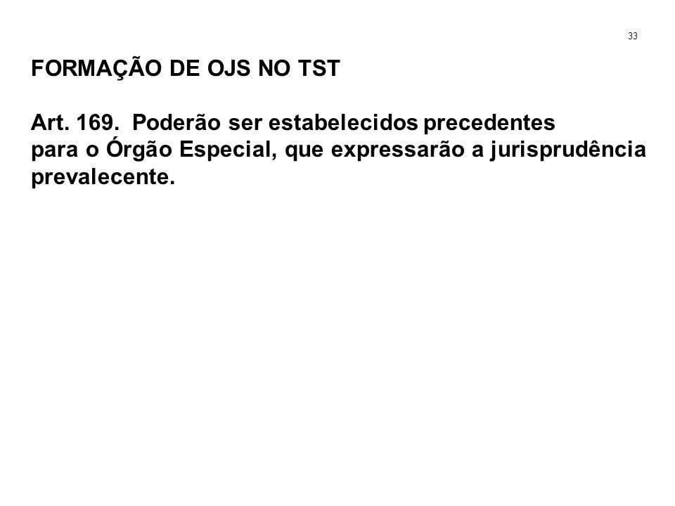 FORMAÇÃO DE OJS NO TST Art. 169. Poderão ser estabelecidos precedentes para o Órgão Especial, que expressarão a jurisprudência prevalecente. 33