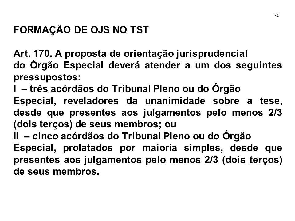 FORMAÇÃO DE OJS NO TST Art. 170. A proposta de orientação jurisprudencial do Órgão Especial deverá atender a um dos seguintes pressupostos: I – três a