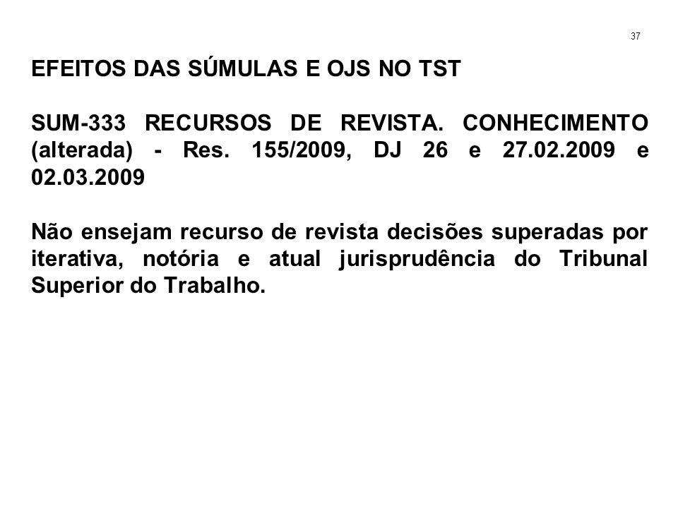 EFEITOS DAS SÚMULAS E OJS NO TST SUM-333 RECURSOS DE REVISTA. CONHECIMENTO (alterada) - Res. 155/2009, DJ 26 e 27.02.2009 e 02.03.2009 Não ensejam rec