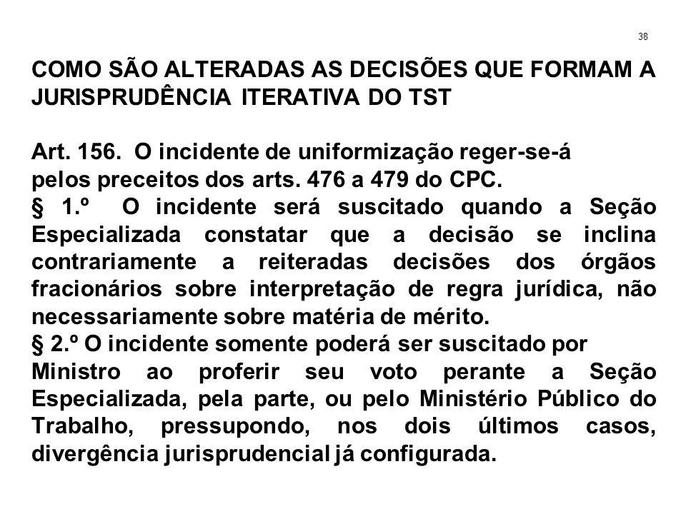 COMO SÃO ALTERADAS AS DECISÕES QUE FORMAM A JURISPRUDÊNCIA ITERATIVA DO TST Art. 156. O incidente de uniformização reger-se-á pelos preceitos dos arts