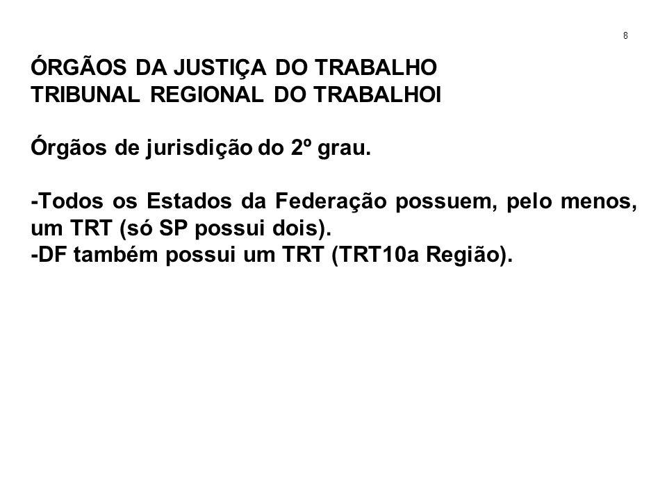 ÓRGÃOS DA JUSTIÇA DO TRABALHO TRIBUNAL REGIONAL DO TRABALHOI Órgãos de jurisdição do 2º grau. -Todos os Estados da Federação possuem, pelo menos, um T