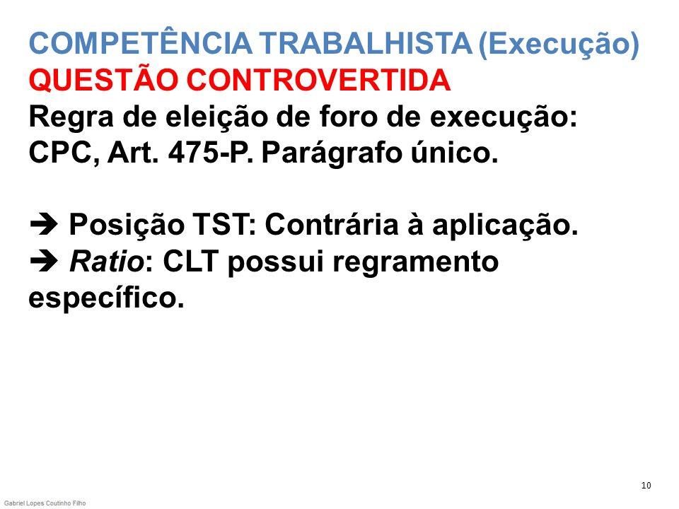 COMPETÊNCIA TRABALHISTA (Execução) QUESTÃO CONTROVERTIDA Regra de eleição de foro de execução: CPC, Art. 475-P. Parágrafo único. Posição TST: Contrári