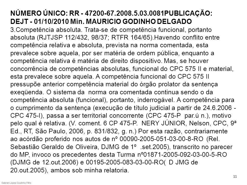 NÚMERO ÚNICO: RR - 47200-67.2008.5.03.0081PUBLICAÇÃO: DEJT - 01/10/2010 Min. MAURICIO GODINHO DELGADO 3.Competência absoluta. Trata-se de competência