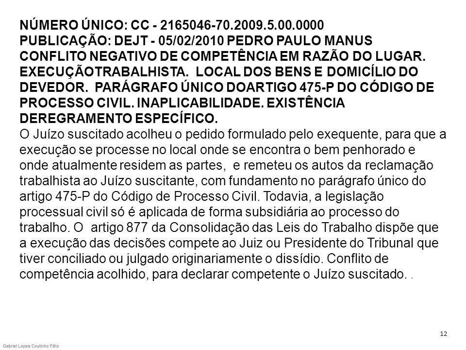 NÚMERO ÚNICO: CC - 2165046-70.2009.5.00.0000 PUBLICAÇÃO: DEJT - 05/02/2010 PEDRO PAULO MANUS CONFLITO NEGATIVO DE COMPETÊNCIA EM RAZÃO DO LUGAR. EXECU