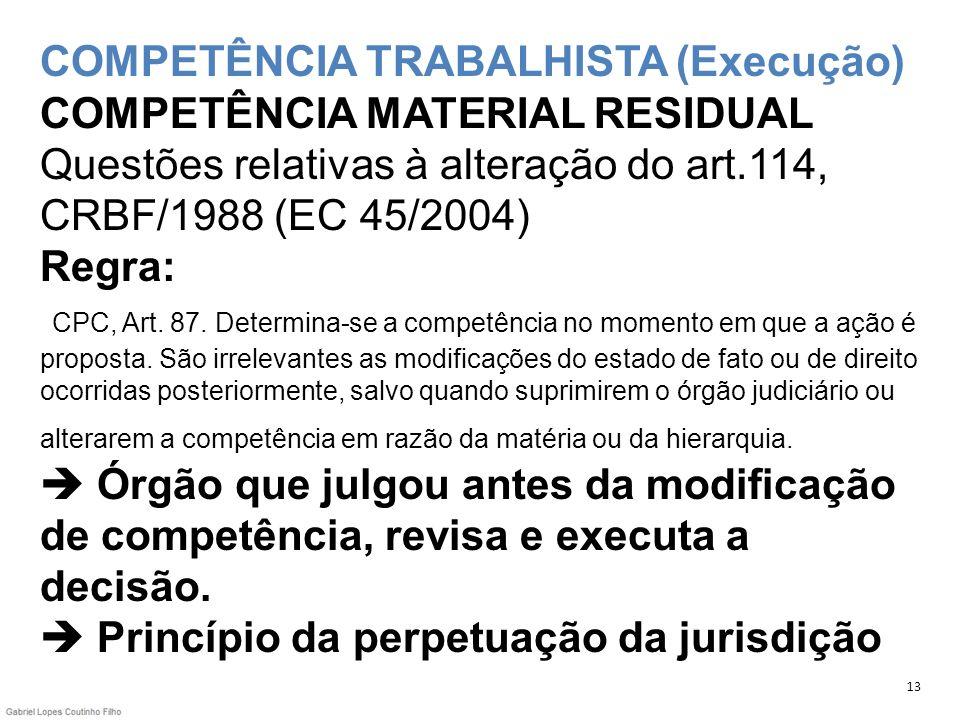 COMPETÊNCIA TRABALHISTA (Execução) COMPETÊNCIA MATERIAL RESIDUAL Questões relativas à alteração do art.114, CRBF/1988 (EC 45/2004) Regra: CPC, Art. 87