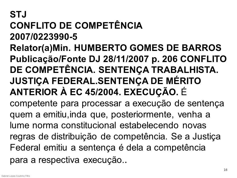 STJ CONFLITO DE COMPETÊNCIA 2007/0223990-5 Relator(a)Min. HUMBERTO GOMES DE BARROS Publicação/Fonte DJ 28/11/2007 p. 206 CONFLITO DE COMPETÊNCIA. SENT