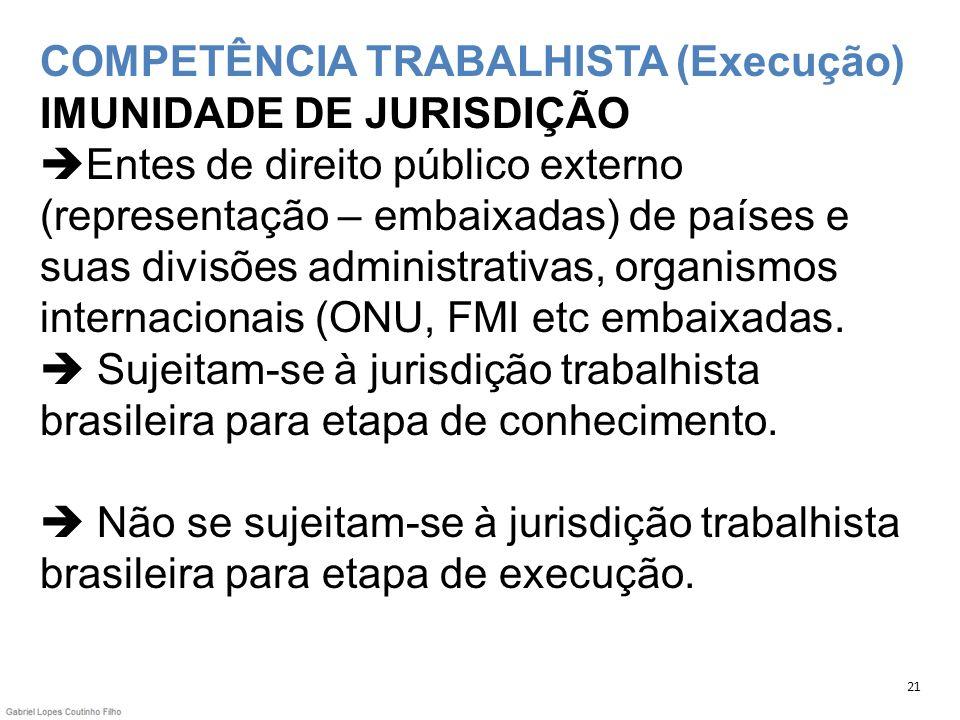 COMPETÊNCIA TRABALHISTA (Execução) IMUNIDADE DE JURISDIÇÃO Entes de direito público externo (representação – embaixadas) de países e suas divisões adm