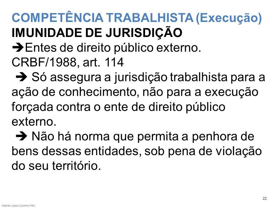 COMPETÊNCIA TRABALHISTA (Execução) IMUNIDADE DE JURISDIÇÃO Entes de direito público externo. CRBF/1988, art. 114 Só assegura a jurisdição trabalhista