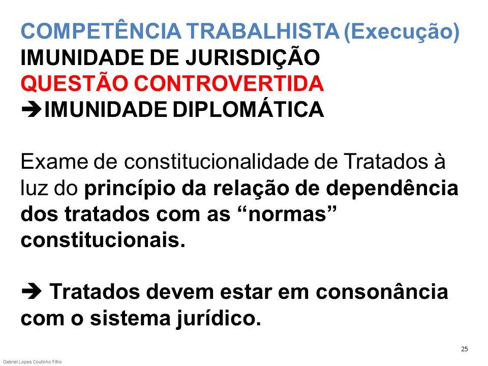 COMPETÊNCIA TRABALHISTA (Execução) IMUNIDADE DE JURISDIÇÃO QUESTÃO CONTROVERTIDA IMUNIDADE DIPLOMÁTICA Exame de constitucionalidade de Tratados à luz