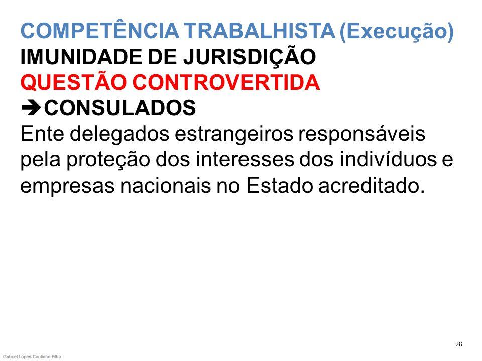 COMPETÊNCIA TRABALHISTA (Execução) IMUNIDADE DE JURISDIÇÃO QUESTÃO CONTROVERTIDA CONSULADOS Ente delegados estrangeiros responsáveis pela proteção dos
