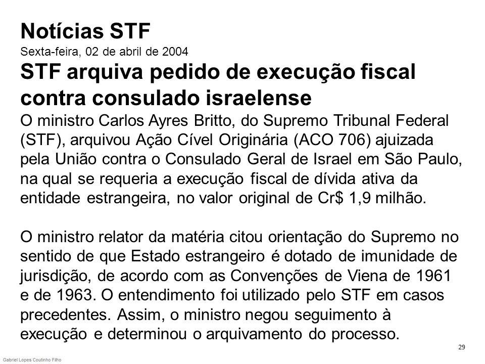 Notícias STF Sexta-feira, 02 de abril de 2004 STF arquiva pedido de execução fiscal contra consulado israelense O ministro Carlos Ayres Britto, do Sup