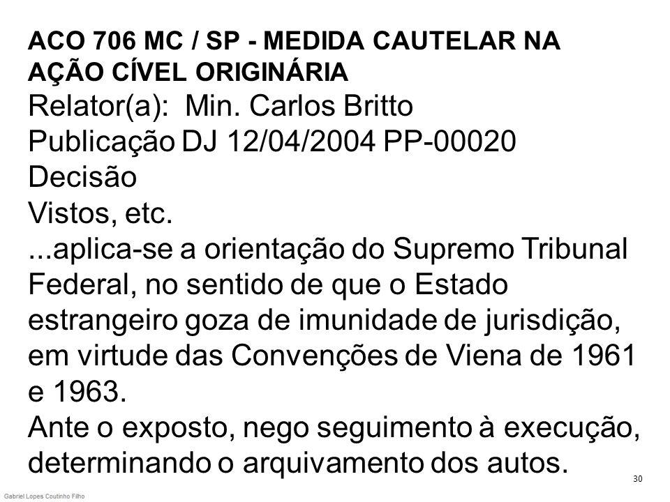 ACO 706 MC / SP - MEDIDA CAUTELAR NA AÇÃO CÍVEL ORIGINÁRIA Relator(a): Min. Carlos Britto Publicação DJ 12/04/2004 PP-00020 Decisão Vistos, etc....apl