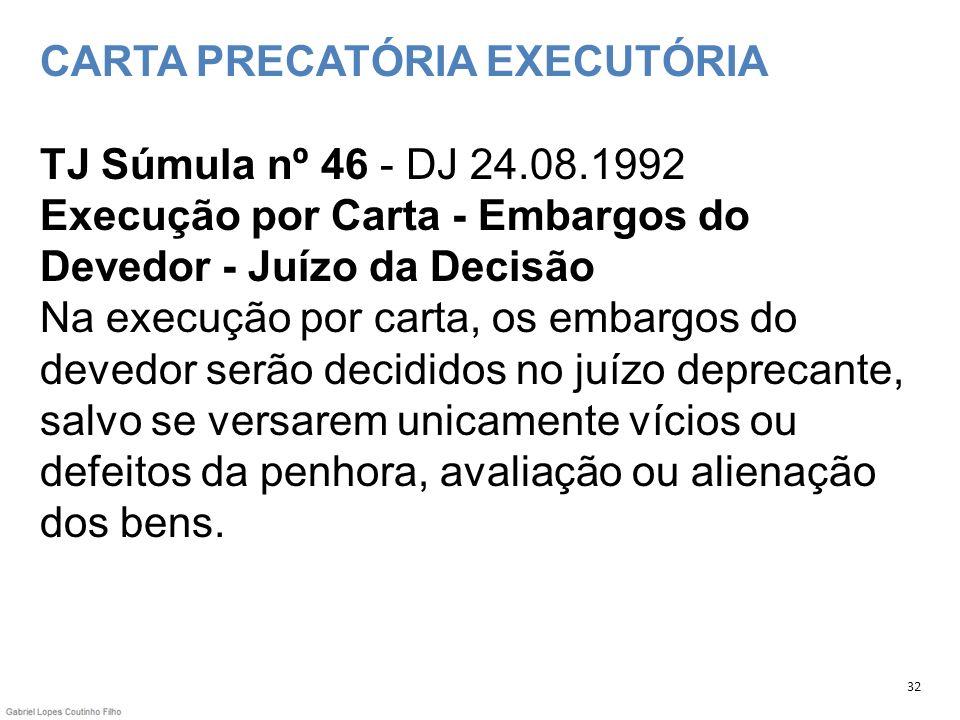 CARTA PRECATÓRIA EXECUTÓRIA TJ Súmula nº 46 - DJ 24.08.1992 Execução por Carta - Embargos do Devedor - Juízo da Decisão Na execução por carta, os emba