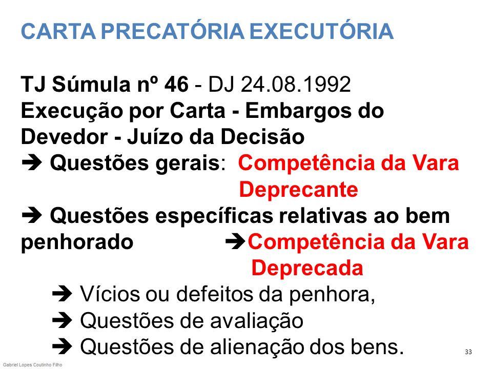 CARTA PRECATÓRIA EXECUTÓRIA TJ Súmula nº 46 - DJ 24.08.1992 Execução por Carta - Embargos do Devedor - Juízo da Decisão Questões gerais: Competência d