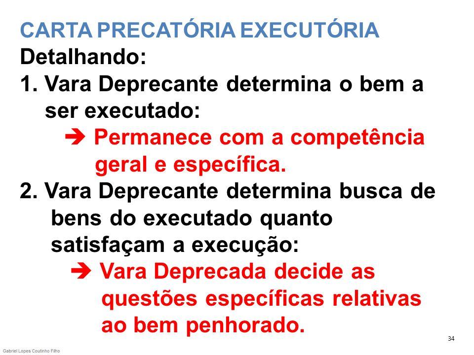 CARTA PRECATÓRIA EXECUTÓRIA Detalhando: 1. Vara Deprecante determina o bem a ser executado: Permanece com a competência geral e específica. 2. Vara De