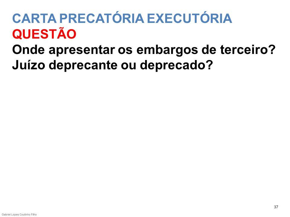 CARTA PRECATÓRIA EXECUTÓRIA QUESTÃO Onde apresentar os embargos de terceiro? Juízo deprecante ou deprecado? 37