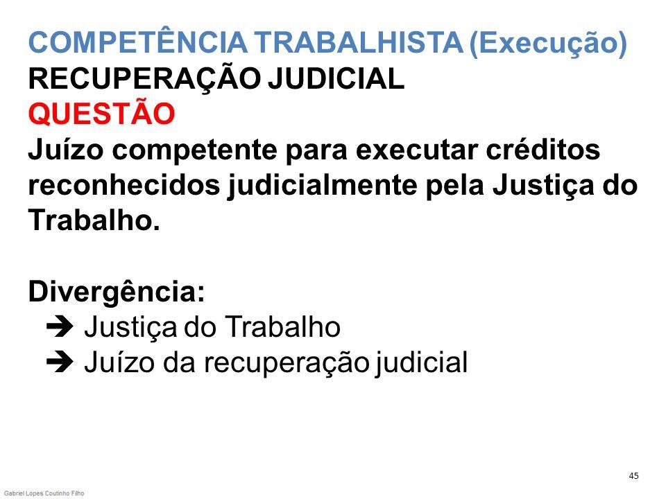 COMPETÊNCIA TRABALHISTA (Execução) RECUPERAÇÃO JUDICIAL QUESTÃO Juízo competente para executar créditos reconhecidos judicialmente pela Justiça do Tra