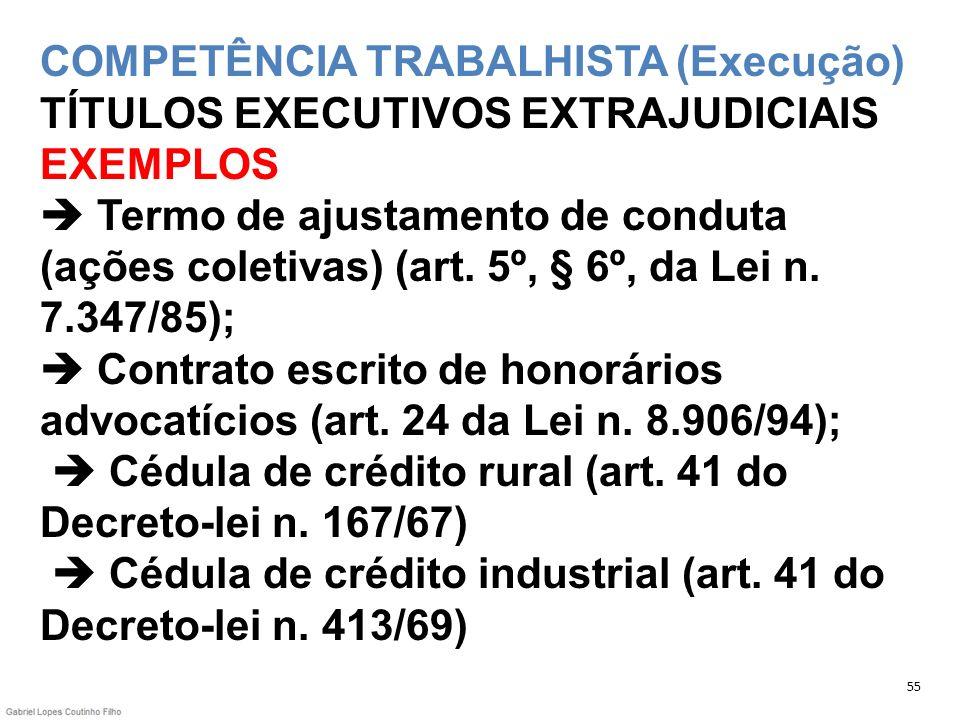 COMPETÊNCIA TRABALHISTA (Execução) TÍTULOS EXECUTIVOS EXTRAJUDICIAIS EXEMPLOS Termo de ajustamento de conduta (ações coletivas) (art. 5º, § 6º, da Lei