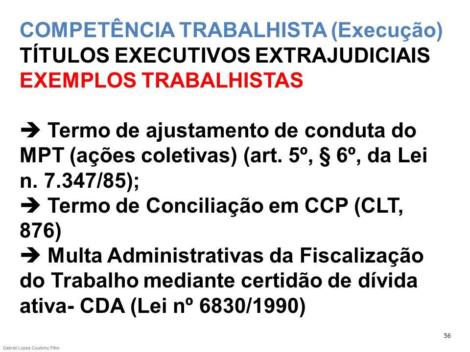 COMPETÊNCIA TRABALHISTA (Execução) TÍTULOS EXECUTIVOS EXTRAJUDICIAIS EXEMPLOS TRABALHISTAS Termo de ajustamento de conduta do MPT (ações coletivas) (a