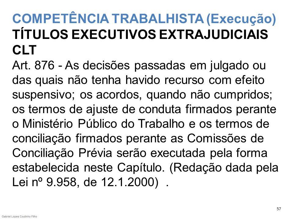 COMPETÊNCIA TRABALHISTA (Execução) TÍTULOS EXECUTIVOS EXTRAJUDICIAIS CLT Art. 876 - As decisões passadas em julgado ou das quais não tenha havido recu