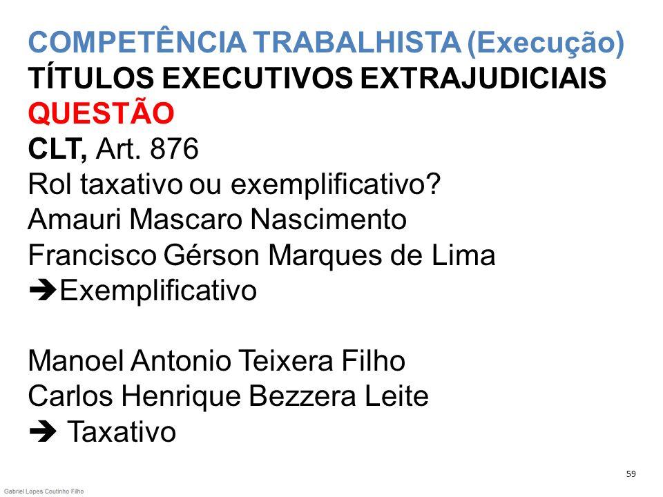 COMPETÊNCIA TRABALHISTA (Execução) TÍTULOS EXECUTIVOS EXTRAJUDICIAIS QUESTÃO CLT, Art. 876 Rol taxativo ou exemplificativo? Amauri Mascaro Nascimento