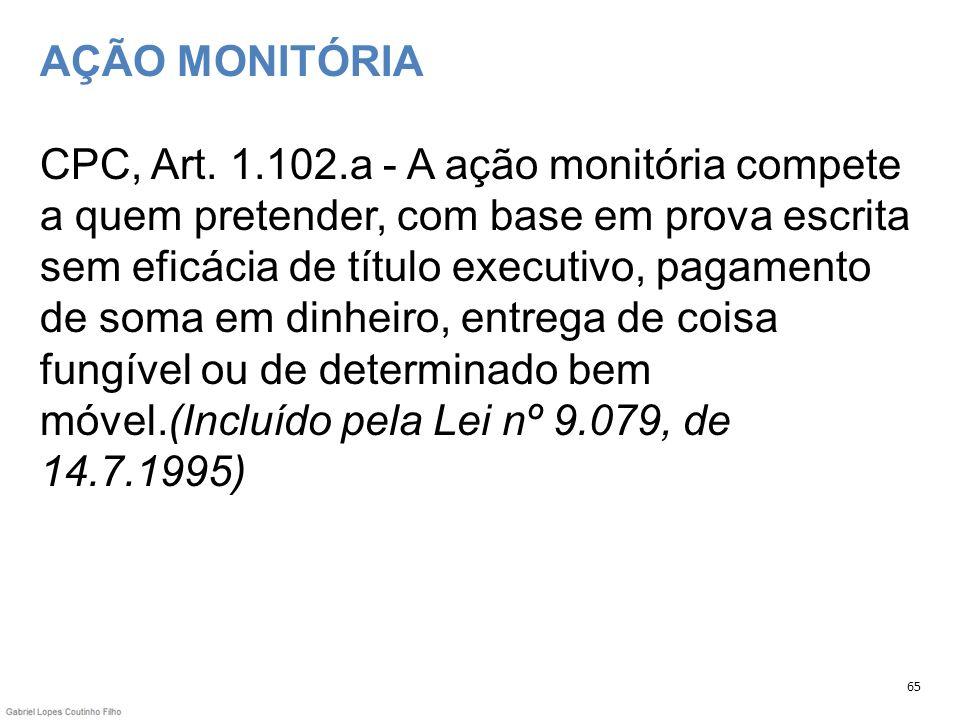 AÇÃO MONITÓRIA CPC, Art. 1.102.a - A ação monitória compete a quem pretender, com base em prova escrita sem eficácia de título executivo, pagamento de