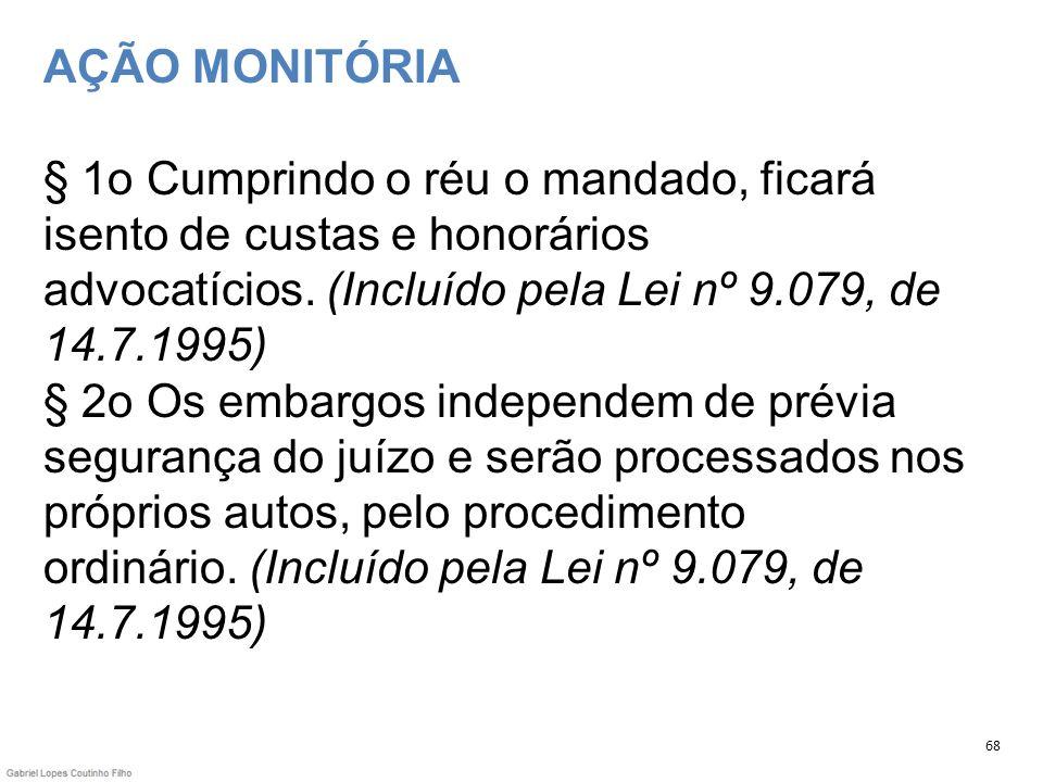 AÇÃO MONITÓRIA § 1o Cumprindo o réu o mandado, ficará isento de custas e honorários advocatícios. (Incluído pela Lei nº 9.079, de 14.7.1995) § 2o Os e