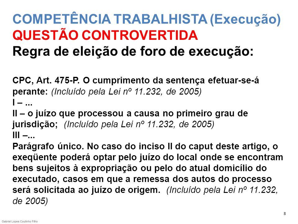 COMPETÊNCIA TRABALHISTA (Execução) QUESTÃO CONTROVERTIDA Regra de eleição de foro de execução: CPC, Art. 475-P. O cumprimento da sentença efetuar-se-á