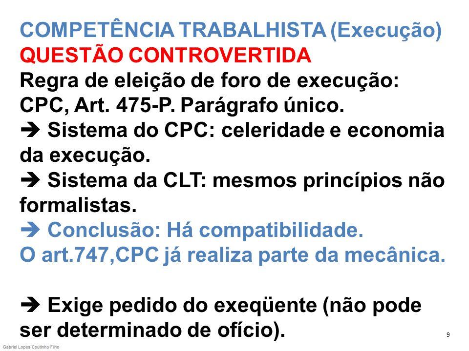 COMPETÊNCIA TRABALHISTA (Execução) QUESTÃO CONTROVERTIDA Regra de eleição de foro de execução: CPC, Art. 475-P. Parágrafo único. Sistema do CPC: celer