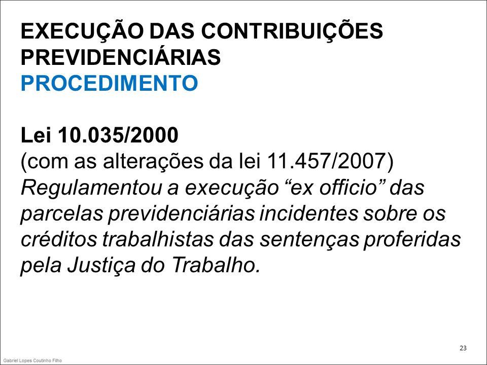 EXECUÇÃO DAS CONTRIBUIÇÕES PREVIDENCIÁRIAS PROCEDIMENTO Lei 10.035/2000 (com as alterações da lei 11.457/2007) Regulamentou a execução ex officio das