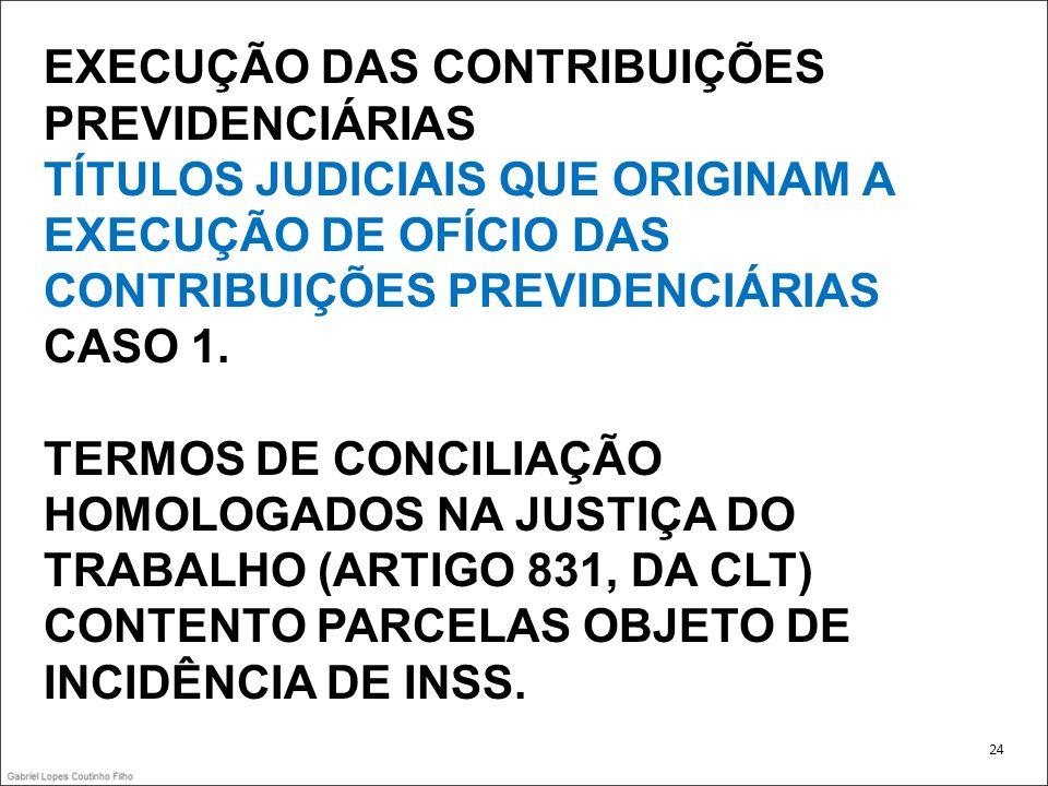EXECUÇÃO DAS CONTRIBUIÇÕES PREVIDENCIÁRIAS TÍTULOS JUDICIAIS QUE ORIGINAM A EXECUÇÃO DE OFÍCIO DAS CONTRIBUIÇÕES PREVIDENCIÁRIAS CASO 1. TERMOS DE CON