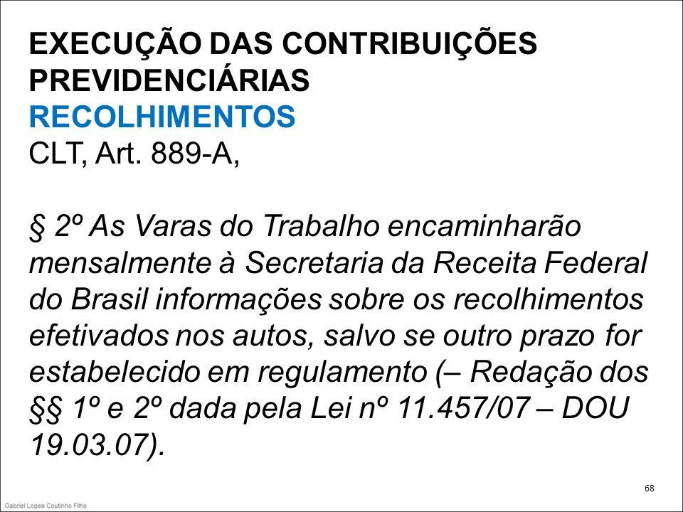 EXECUÇÃO DAS CONTRIBUIÇÕES PREVIDENCIÁRIAS RECOLHIMENTOS CLT, Art. 889-A, § 2º As Varas do Trabalho encaminharão mensalmente à Secretaria da Receita F