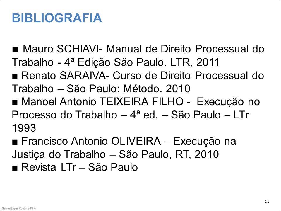 BIBLIOGRAFIA Mauro SCHIAVI- Manual de Direito Processual do Trabalho - 4ª Edição São Paulo. LTR, 2011 Renato SARAIVA- Curso de Direito Processual do T