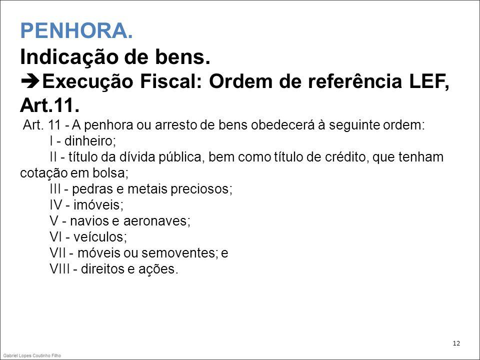 PENHORA. Indicação de bens. Execução Fiscal: Ordem de referência LEF, Art.11. Art. 11 - A penhora ou arresto de bens obedecerá à seguinte ordem: I - d