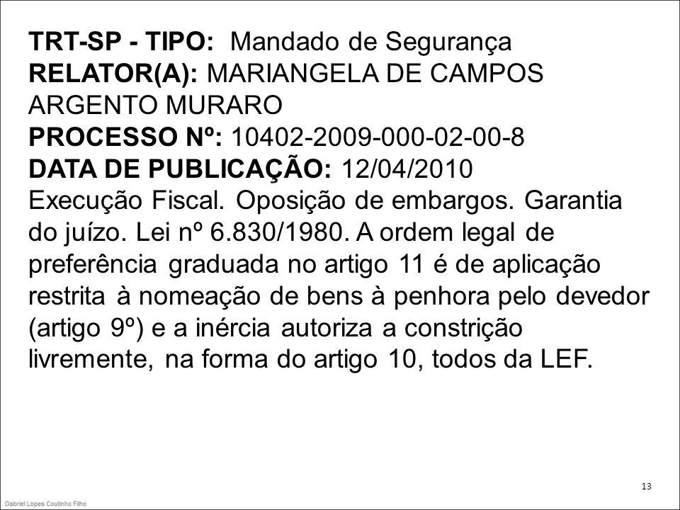 TRT-SP - TIPO: Mandado de Segurança RELATOR(A): MARIANGELA DE CAMPOS ARGENTO MURARO PROCESSO Nº: 10402-2009-000-02-00-8 DATA DE PUBLICAÇÃO: 12/04/2010