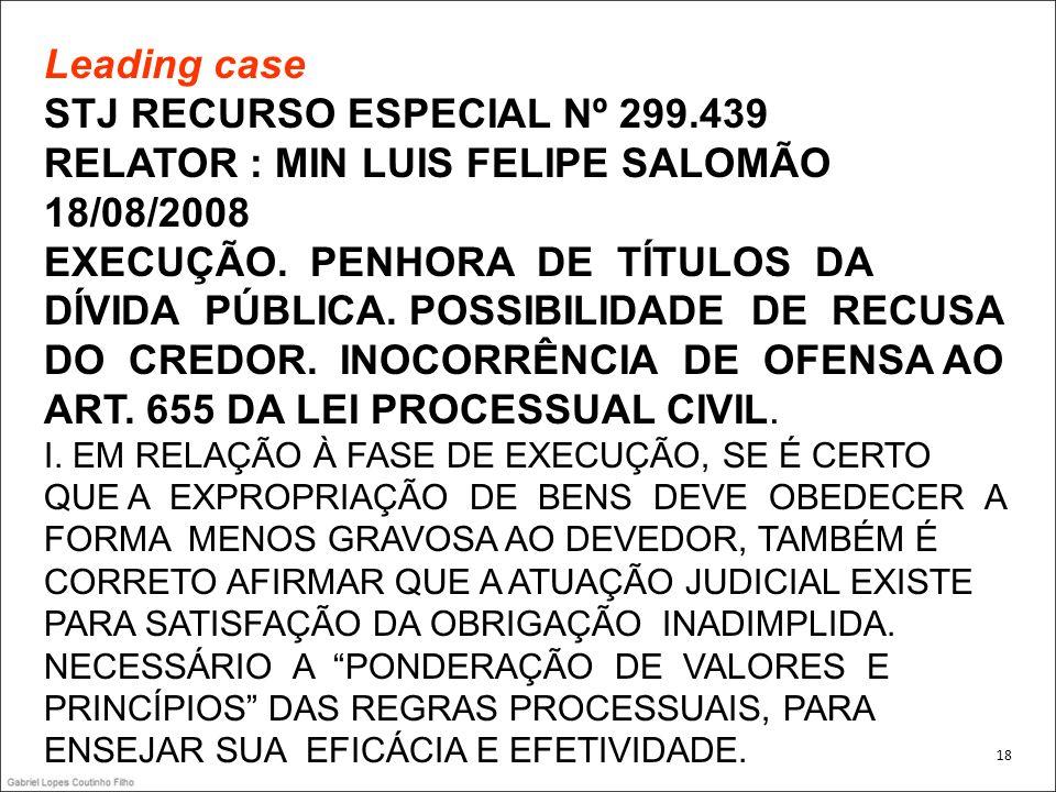 Leading case STJ RECURSO ESPECIAL Nº 299.439 RELATOR : MIN LUIS FELIPE SALOMÃO 18/08/2008 EXECUÇÃO. PENHORA DE TÍTULOS DA DÍVIDA PÚBLICA. POSSIBILIDAD
