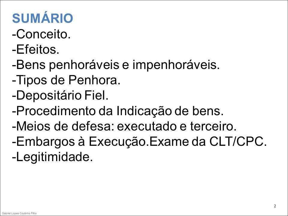 PENHORA.Forma de guarda de bens penhorados. -Depósito Judicial Público.