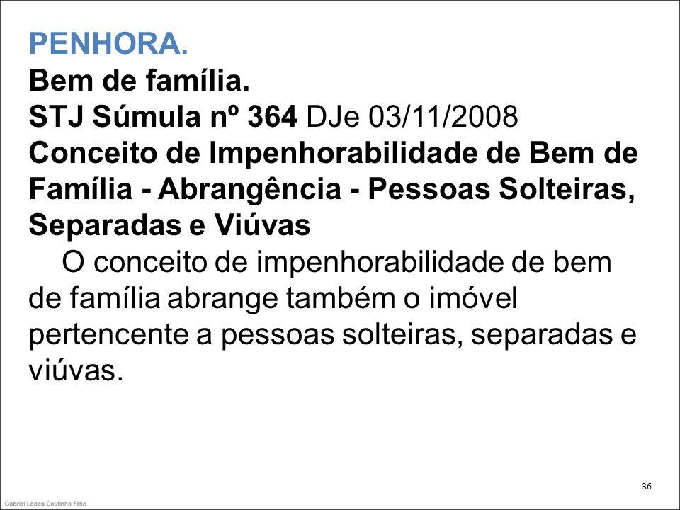 PENHORA. Bem de família. STJ Súmula nº 364 DJe 03/11/2008 Conceito de Impenhorabilidade de Bem de Família - Abrangência - Pessoas Solteiras, Separadas