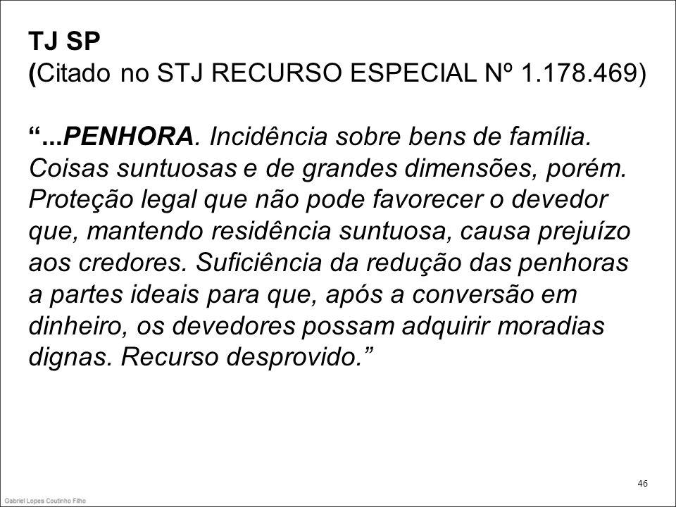 TJ SP (Citado no STJ RECURSO ESPECIAL Nº 1.178.469)...PENHORA. Incidência sobre bens de família. Coisas suntuosas e de grandes dimensões, porém. Prote