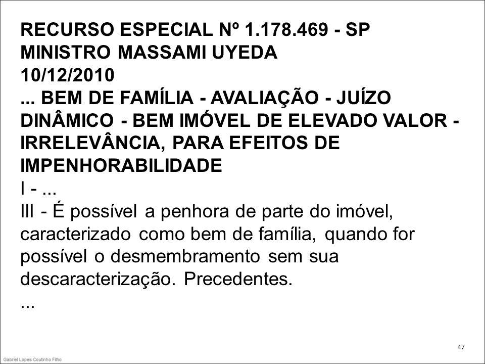 RECURSO ESPECIAL Nº 1.178.469 - SP MINISTRO MASSAMI UYEDA 10/12/2010... BEM DE FAMÍLIA - AVALIAÇÃO - JUÍZO DINÂMICO - BEM IMÓVEL DE ELEVADO VALOR - IR